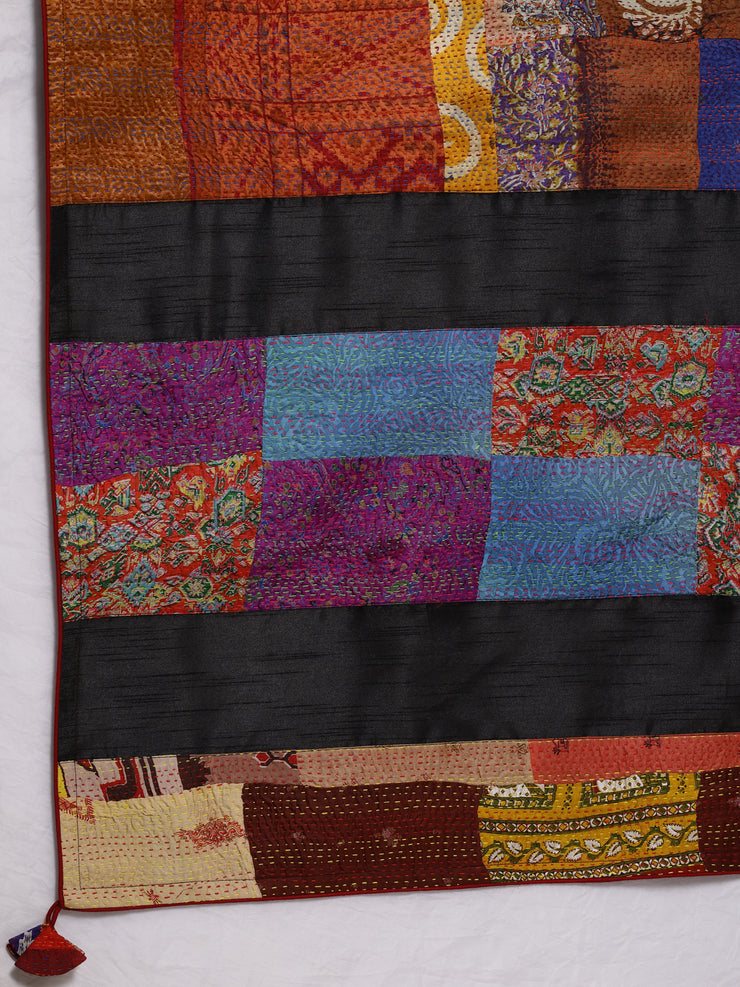 Black Kantha Saree with Multicolor Applique Work