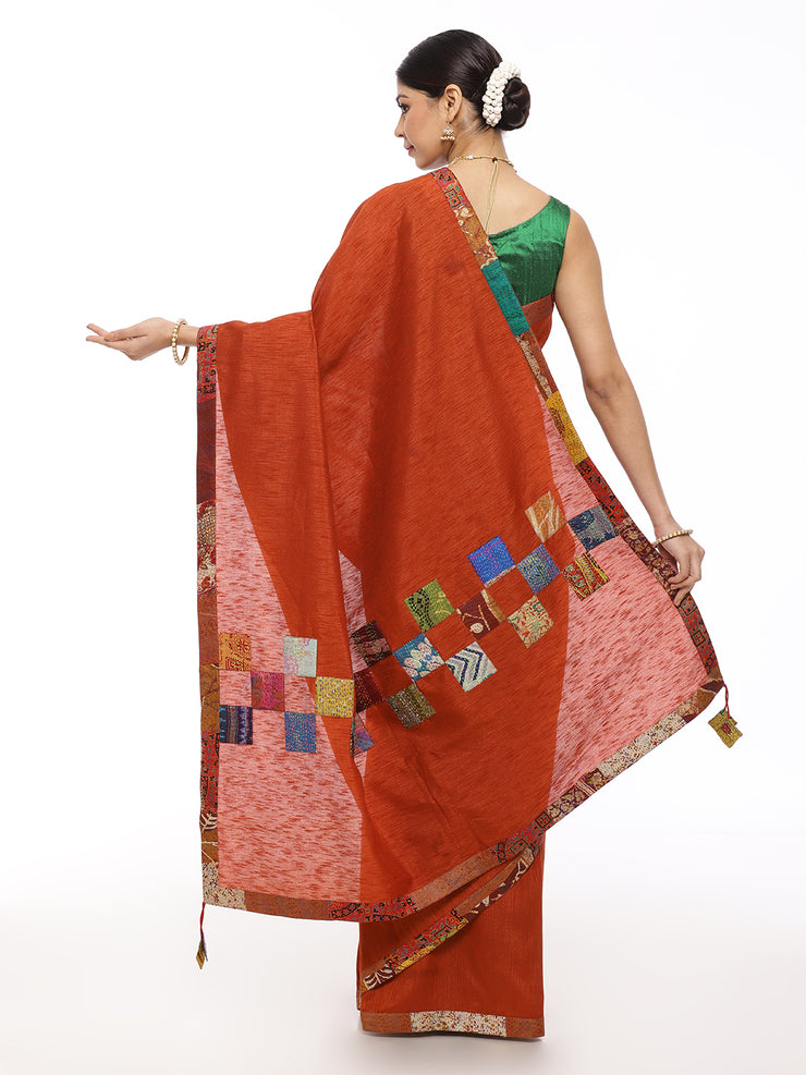 Brown Kantha Saree with Multicolor Applique Work