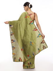 Green Kantha Saree with Multicolor Applique Work