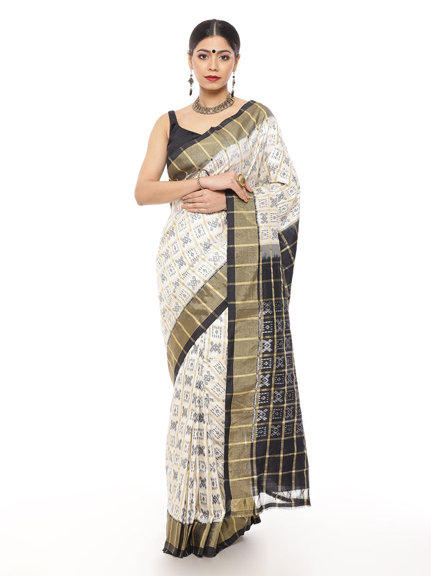 Off White and Black Pochampally Silk Saree with Zari Border