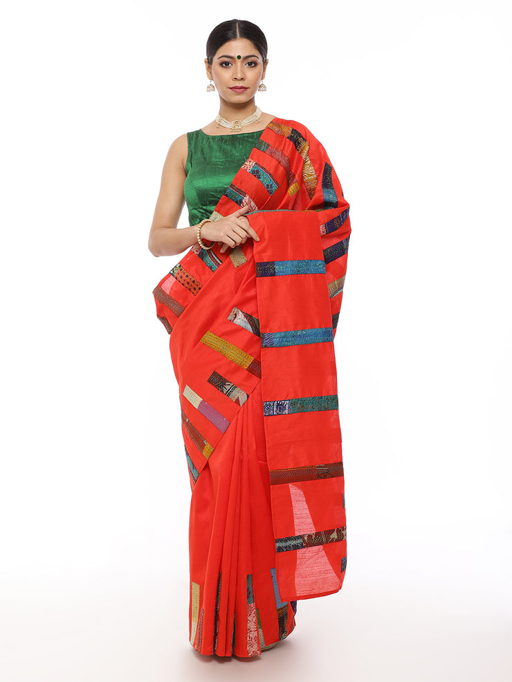 Red Kantha Saree with Multicolor Applique Work