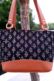 Indian Artizans - Blue Hand Block Printed Hand Bag