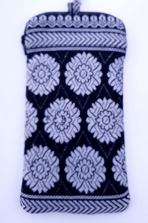 Indian Artizans - Black and White Flower Motif Handmade Multipurpose Pouch