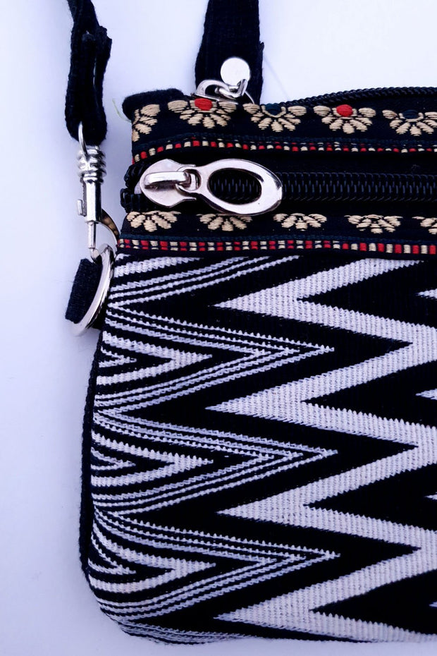 Indian Artizans - Black and White Zig Zag Handmade Multipurpose Pouch