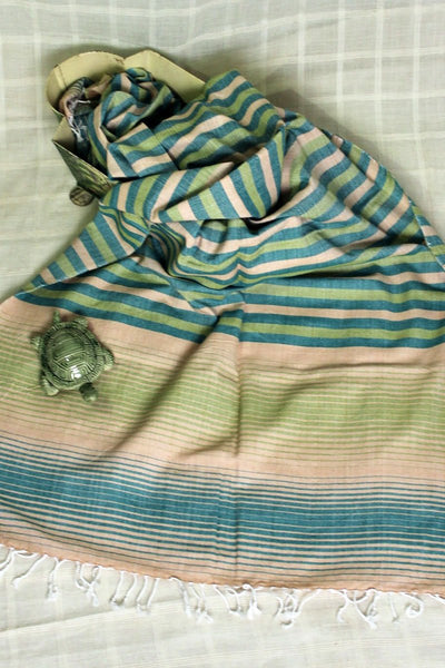 Indian Artizans - Green Striped Cotton Stole