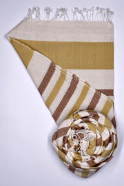 Indian Artizans - Cream Striped Cotton Stole