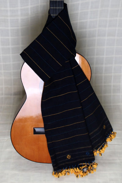 Indian Artizans - Black Cotton Stole With Yellow Tassles