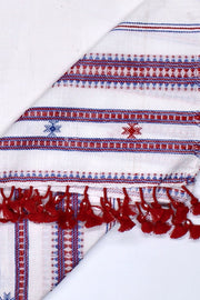 Indian Artizans - White Cotton Stole With Red And Blue Tassles