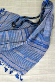 Indian Artizans - Grey Cotton Stole With Blue Tassles