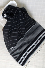 Indian Artizans - Black Handwoven Stole With White Tassles