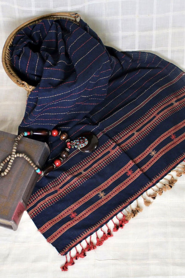 Indian Artizans - Navy Blue Kala Cotton Stole