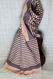 Indian Artizans - Beige And Mauve Striped Cotton Stole