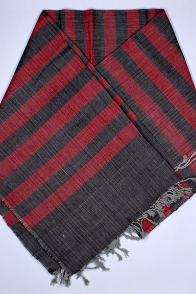 Indian Artizans - Grey And Red Striped Cotton Stole