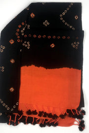 Indian Artizans - Black And Orange Bandhini Woolen Stole