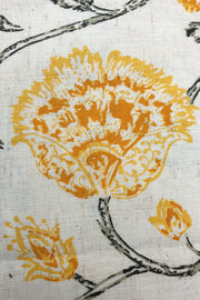 Indian Artizans - Offwhite with Yellow Flowers Hand Block Printed Blouse Piece