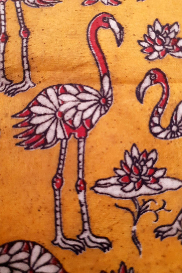 Indian Artizans - Mustard Pelican Motif Hand Block Printed Blouse Piece