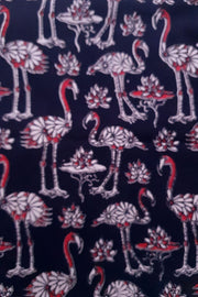 Indian Artizans - Black Kalamkari Blouse Piece With Pelican Motif