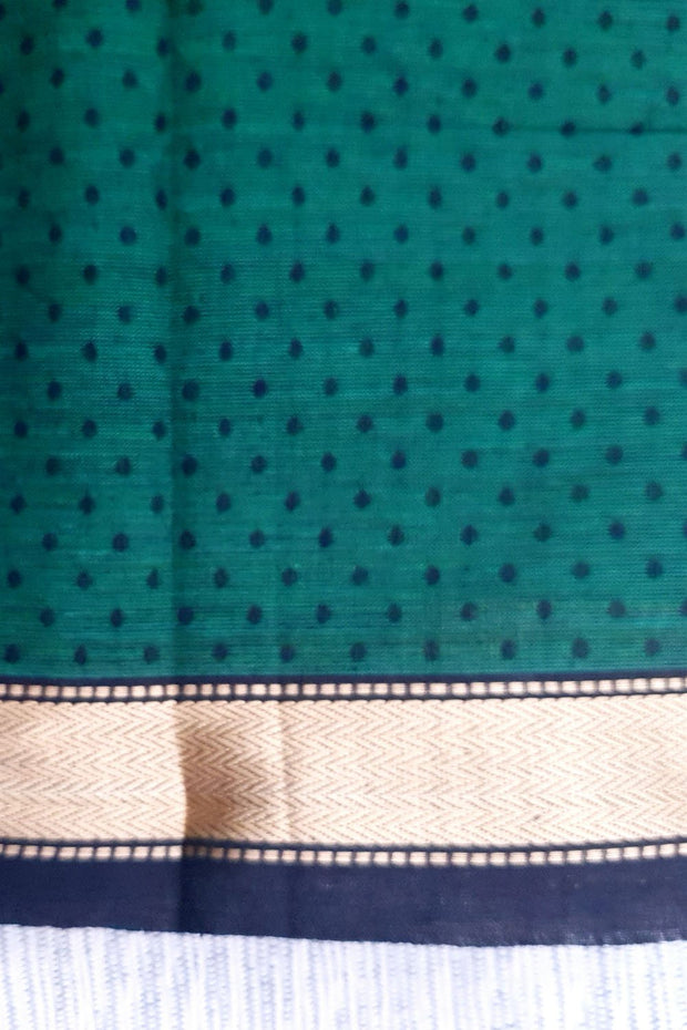 Indian Artizans - Green Mangalgiri Blouse Piece with Zari border