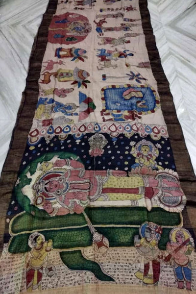 Off-White and Brown Srikalahasti Kalamkari Handpainted Pure Desi Tussar Silk Saree