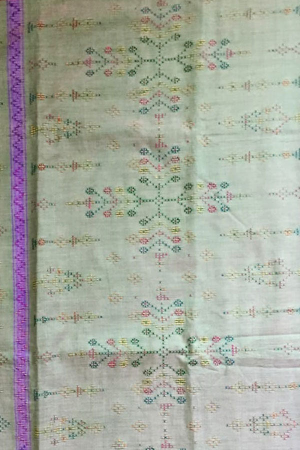 Off-White Cotton Tangaliya Saree