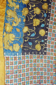 Blue Ochre Black Handpainted Srikalahasti Kalamkari Desi Tussar Silk Saree with Kundan Work