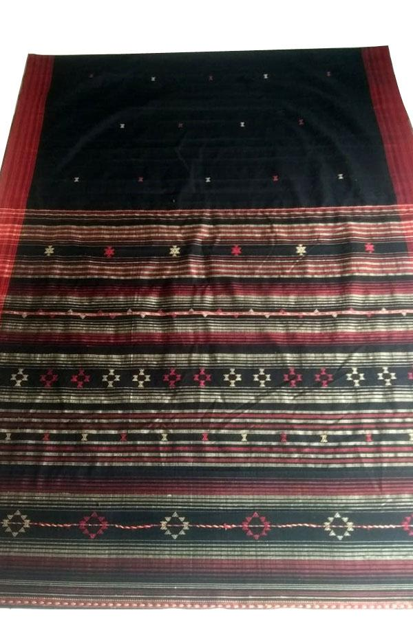 Indian Artizans - Black Cotton Tussar Silk With Grey Aanchal and Red Border