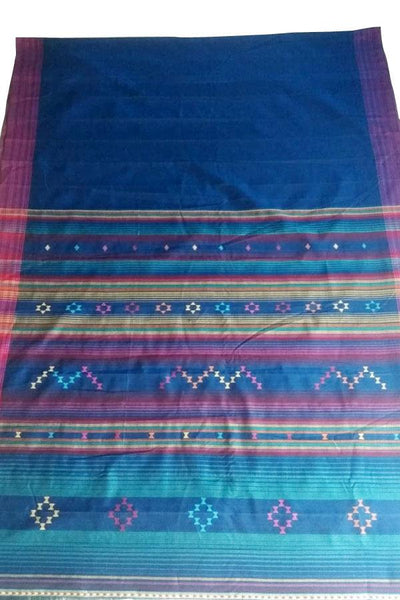 Indian Artizans - Blue Pink and Grey Asmani Cotton Silk Saree