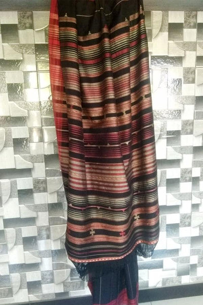 Indian Artizans - Black Red and Grey Cotton Silk Saree