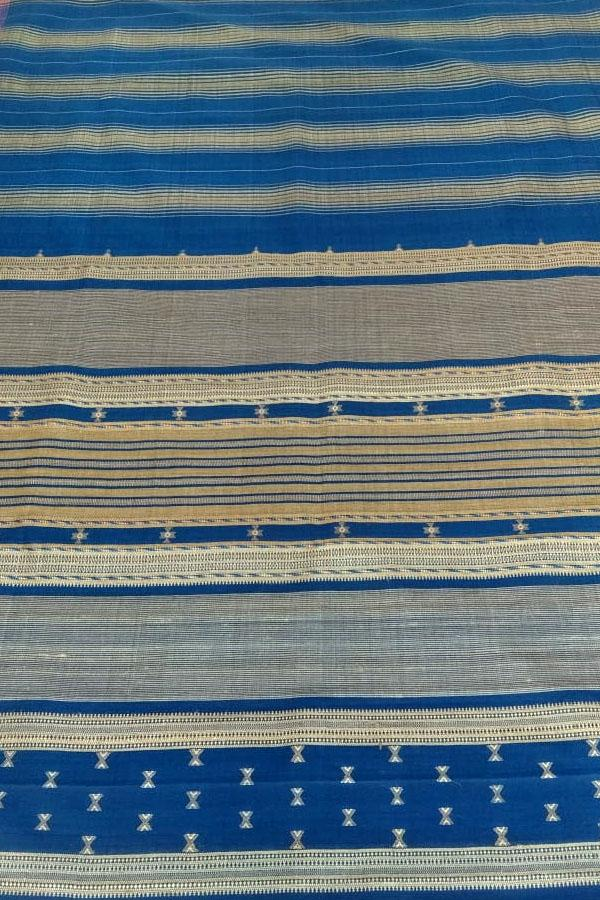 Indian Artizans - Blue Red Grey Cotton Silk Tussar Saree From Bhuj