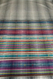 Indian Artizans - Light Grey Cotton Silk Saree With a 9-coloured Handspun Border