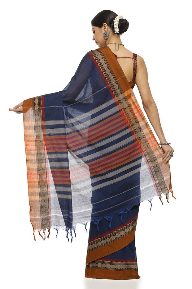 Indian Artizans - Navy Blue Cotton Saree With Mustard Border