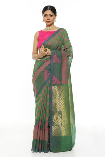 Indian Artizans - Teal Green Kotta Saree With Gold Zari Pallu