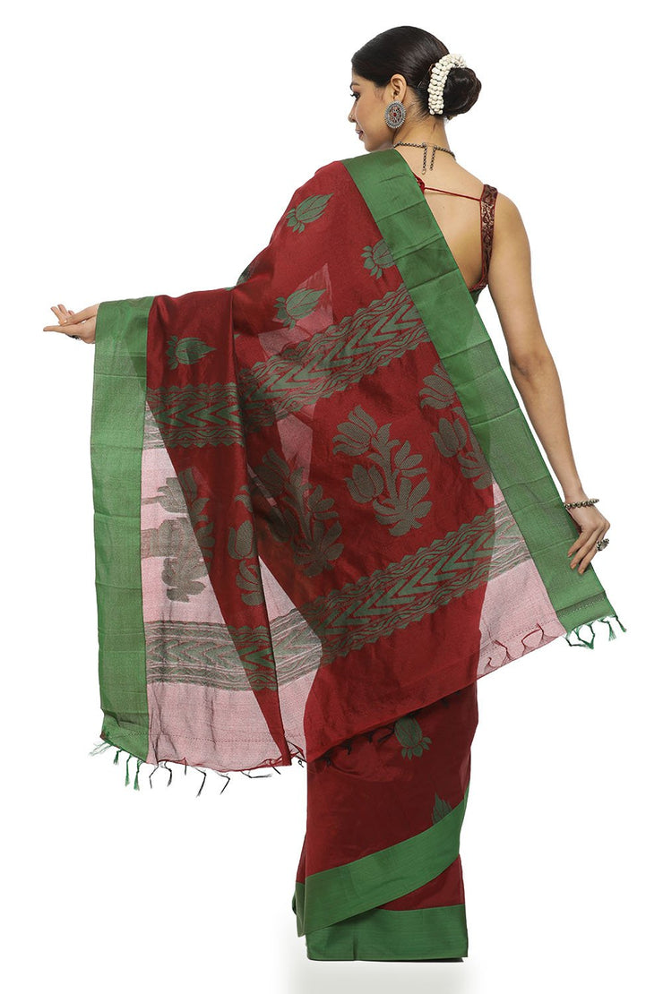 Indian Artizans - Maroon Cotton Saree With Green Lotus Motif And Border