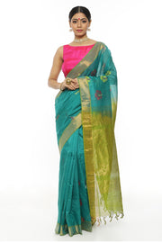 Indian Artizans - Turquoise Cotton Silk Saree With Flower Motif