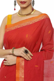 Indian Artizans - Maroon Cotton Saree With Jasmine Border