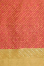 Indian Artizans - Mustard And Cotton Saree With Pink Triangle Motif Pallu