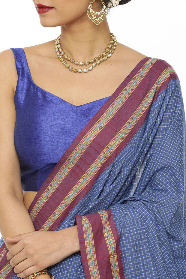 Indian Artizans - Blue Kunbi Saree With Purple Border