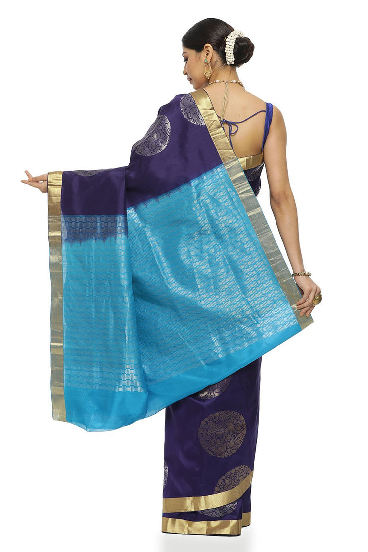Indian Artizans - Navy Blue Pure Silk Kanjeevaram Saree With Aqua Blue Pallu
