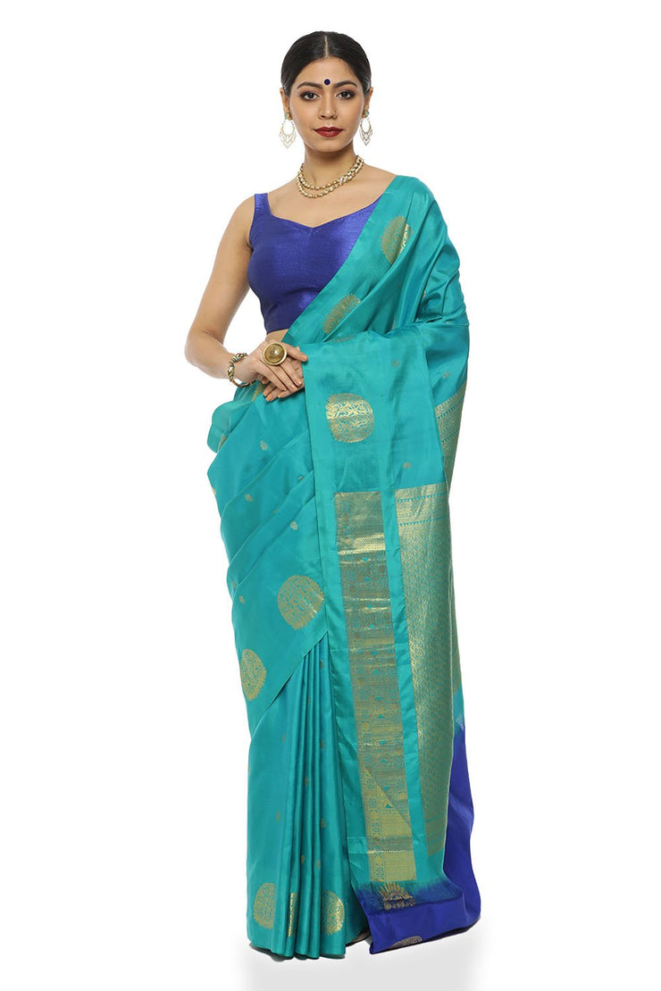 Indian Artizans - Aqua Blue Pure Silk Kanjeevaram Saree