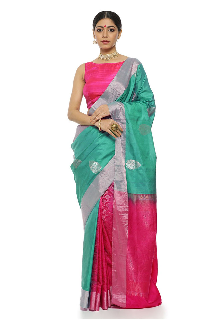 Indian Artizans - Green Pure Silk Kanjeevaram Saree