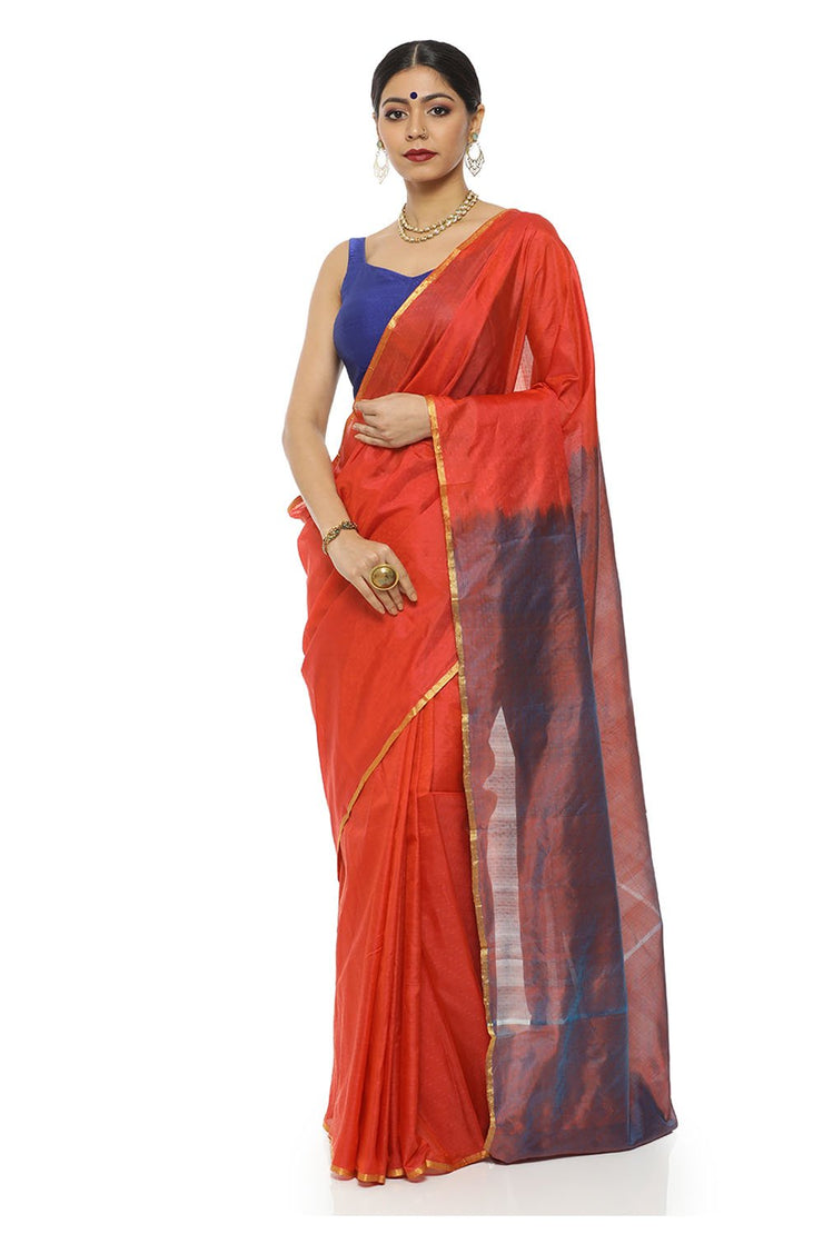 Indian Artizans - Orange Kanjeevaram Silk Saree With Blue Pallu And Zari Border