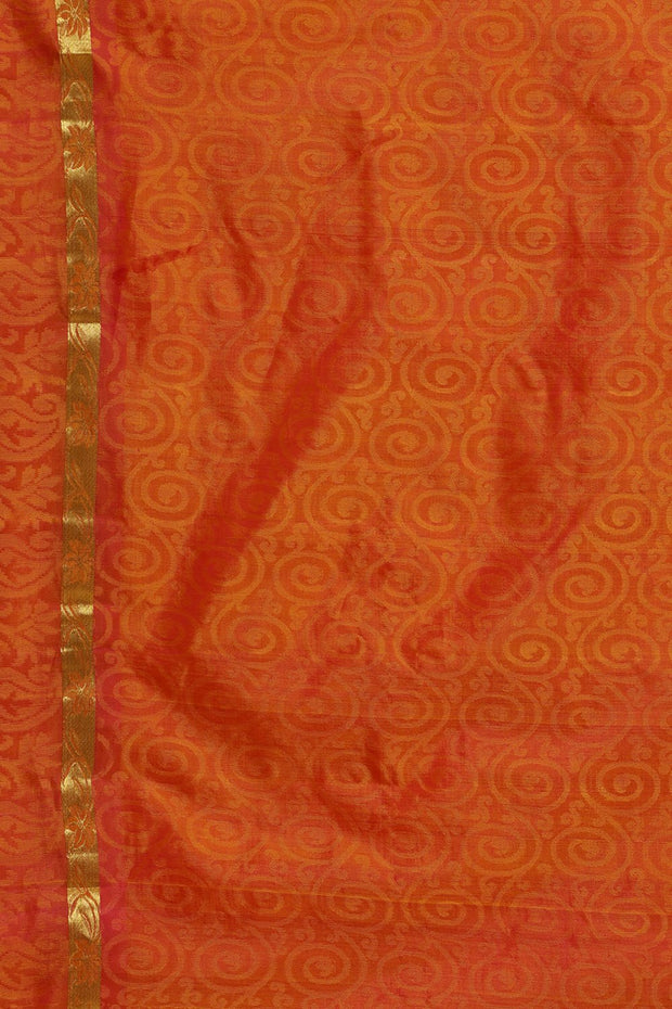 Indian Artizans - Yellow Kanjeevaram Silk Saree With Orange Pallu And Border