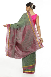 Indian Artizans - Sage Green Kanjeevaram Silk Saree With Zari And Pink Border