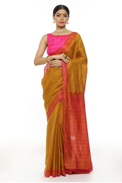 Indian Artizans - Mustard Kanjeevaram Silk Saree With Pink Pallu And Border