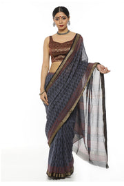 Indian Artizans - Purple Block Print Maheshwari Saree With Zari Border