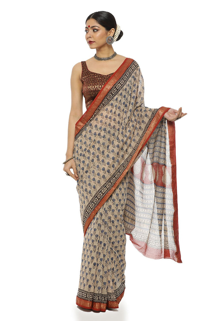 Indian Artizans - Beige And Maroon Block Print Maheshwari Saree With Zari Border