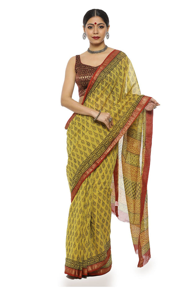 Indian Artizans - Yellow And Maroon Block Print Maheshwari Saree With Zari Border