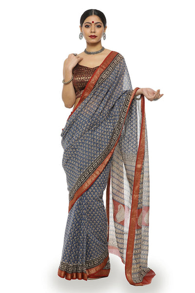 Indian Artizans - Blue And Maroon Block Print Maheshwari Saree With Zari Border