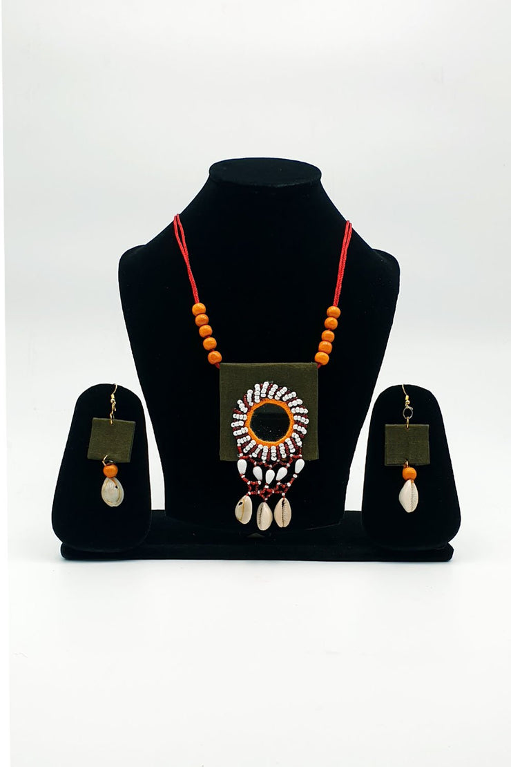 Indian Artizans - Olive Green Handmade Traditional Jewellery Set