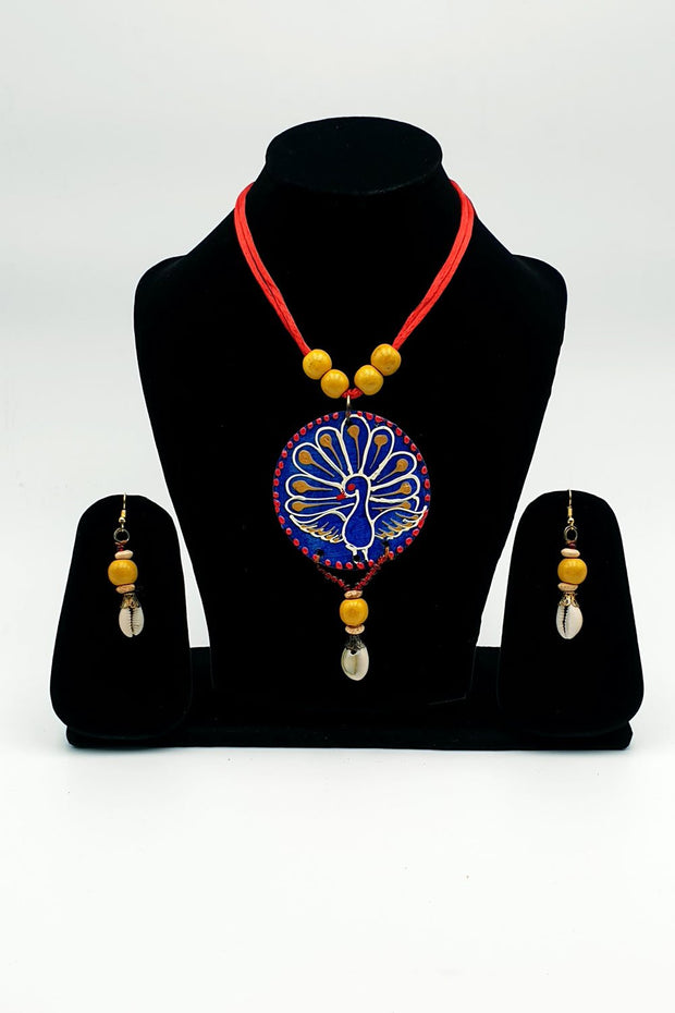 Indian Artizans - Peacock Blue Wooden Traditional Handmade Bhuj Jewellery Set